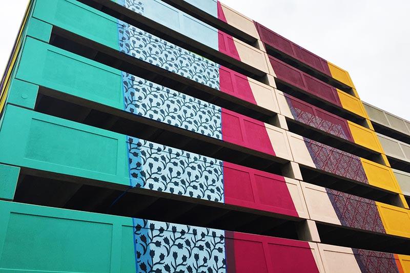 colorful parking garage outside