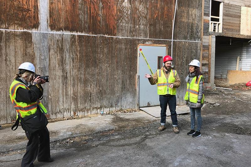 Construction people at at lumberyard