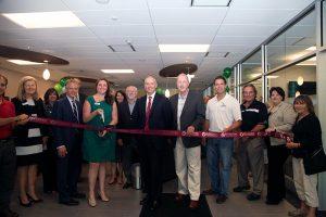 Pioneer Bank reopening ribbon cutting