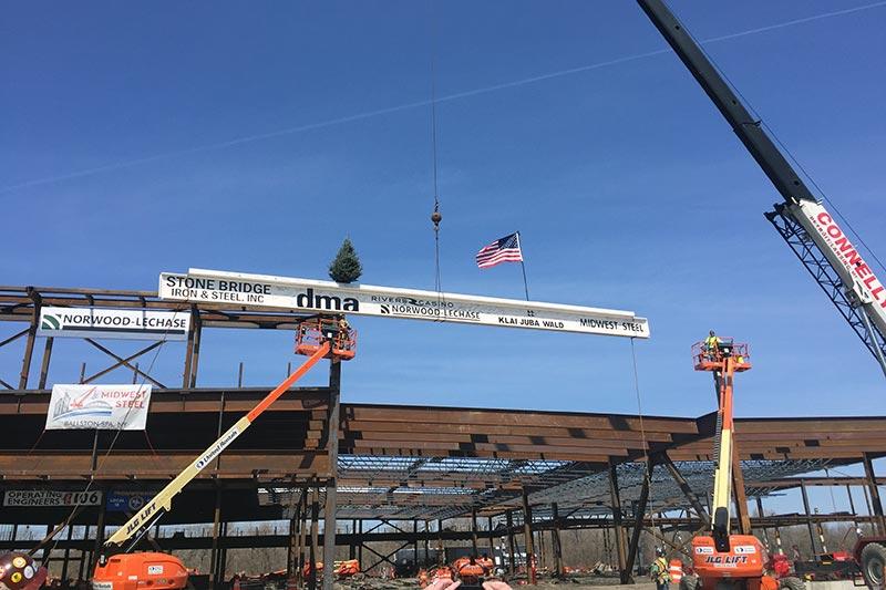 Rivers Casino steel beams showing it being built